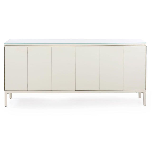 Vintage Modern White Lacquer Cabinet Credenza With Eight Drawers Circa 1980s For Sale - Image 13 of 13