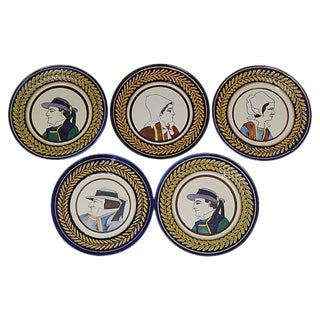 Quimper Art Pottery Plates - Set of 5 For Sale