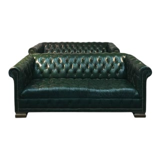 Forest Green Chesterfield Sofas - a Pair