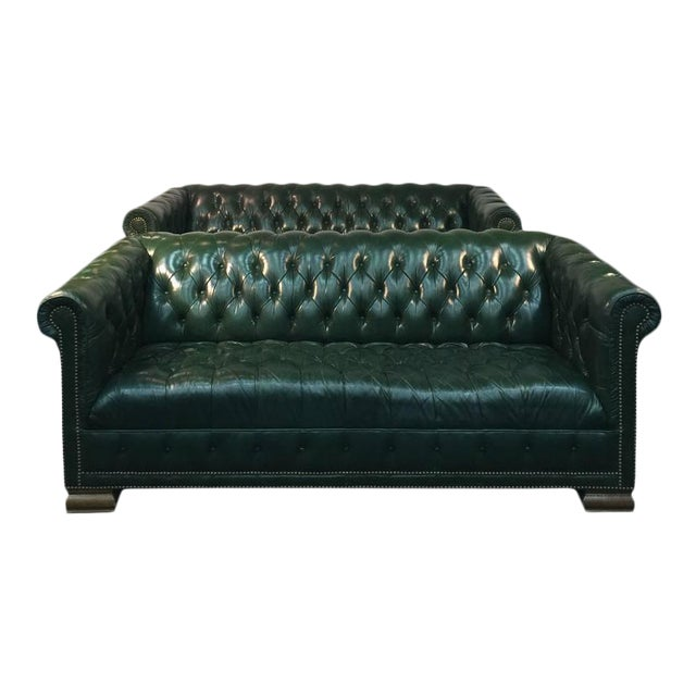 Forest Green Chesterfield Sofas A Pair Chairish