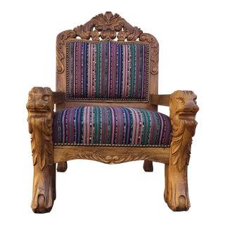 1920s Vintage Solid Teak Carved Chair For Sale