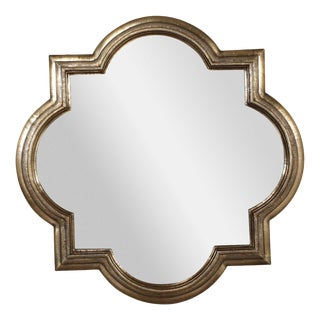 Large Brass Quatrefoil Mirror For Sale