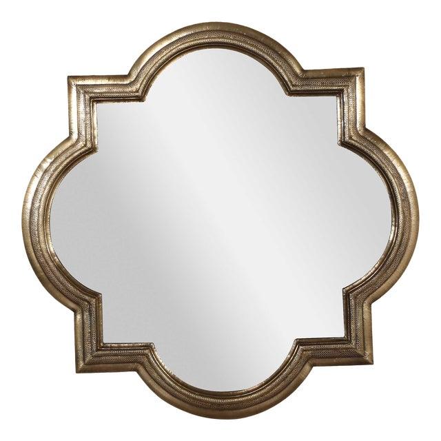 Large Brass Quatrefoil Mirror For Sale