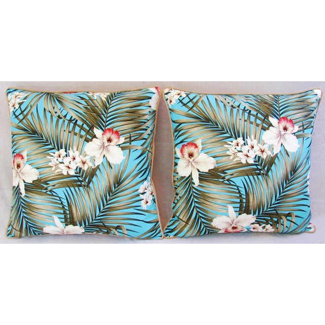Custom Tropical Palm & Orchid Pillows - A Pair - Image 3 of 11