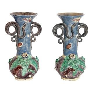 A Pair Palissy Vases
