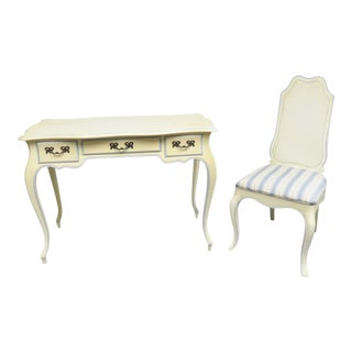 French Cream Painted Desk & Chair - 2 Pieces For Sale