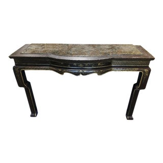 Black & Gold Chinoiserie Console Table W Granite Inlaid Top by Charles Pollock For Sale
