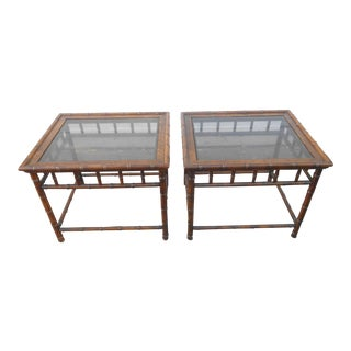 Vintage Chippendale Solid Oak Faux Bamboo Side Tables - a Pair For Sale