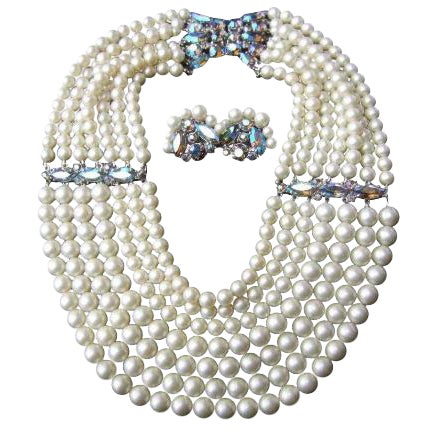 Schiaparelli Faux Pearl Bib Necklace and Earring Set. 1960's. For Sale