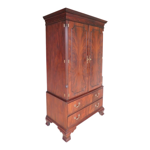 Henkel Harris Chippendale Style Mahogany Armoire Cabinet 1247 For Sale