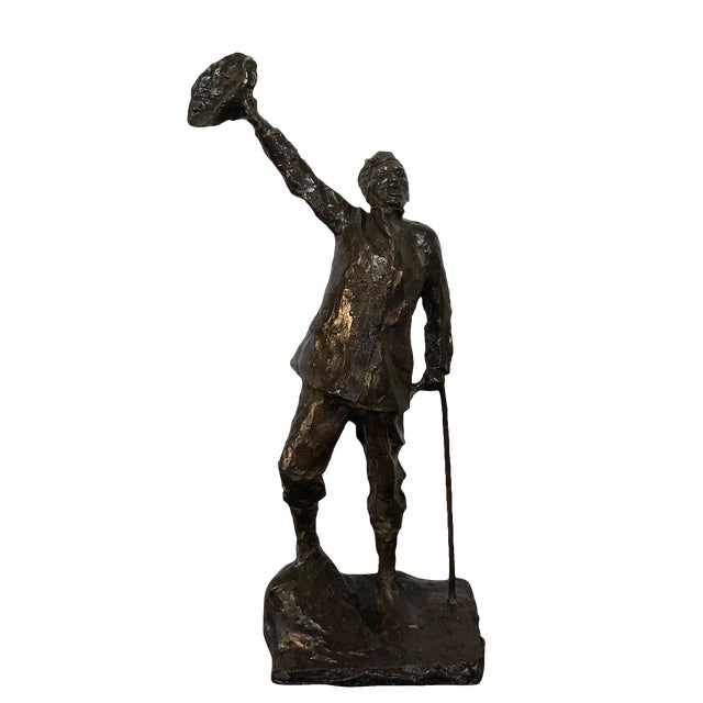 19th Century French Sculpture the Wanderer by Aime Jules Dalou For Sale