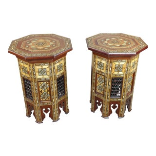 Syrian Beautiful Mother-of-Pearl Walnut Side Tables -A pair For Sale