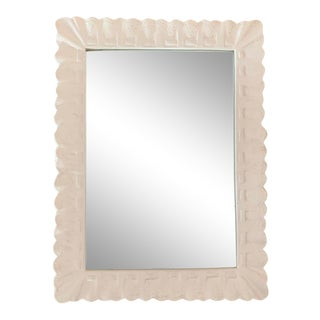 1960s Vintage White Plaster Framed Mirror For Sale