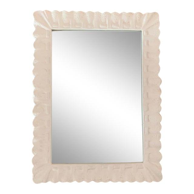 1960s Vintage White Trompe l'Oiel Plaster Framed Mirror For Sale