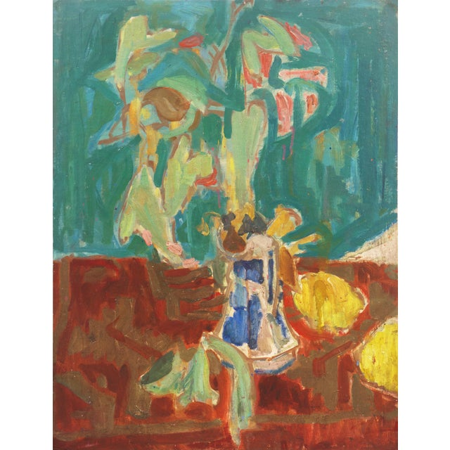 'Flowers in a Blue and White Jug' by Victor DI Gesu, 1960; California, Louvre, Academie Chaumiere, Los Angeles County Museum of Art For Sale - Image 10 of 10