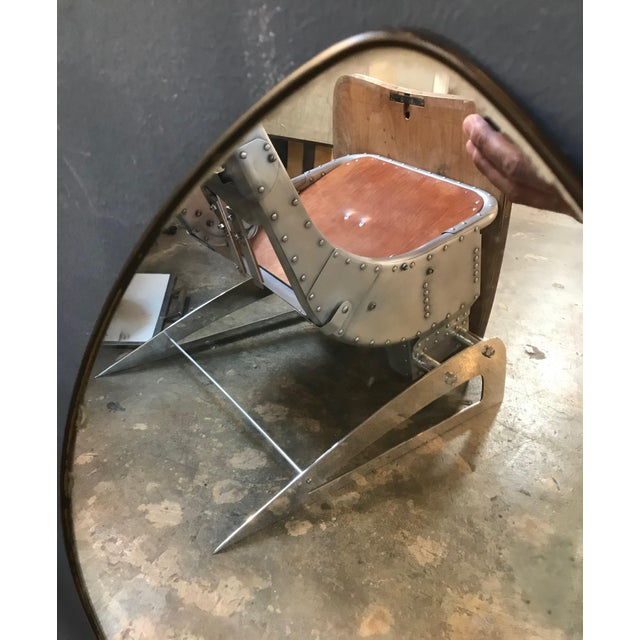 Metal Italian Midcentury Oval Brass Wall Mirror, 1950s For Sale - Image 7 of 10