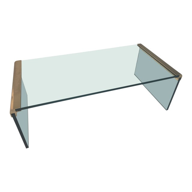 1970s Minimalist Pace Collection Brass and Glass Coffee Table For Sale