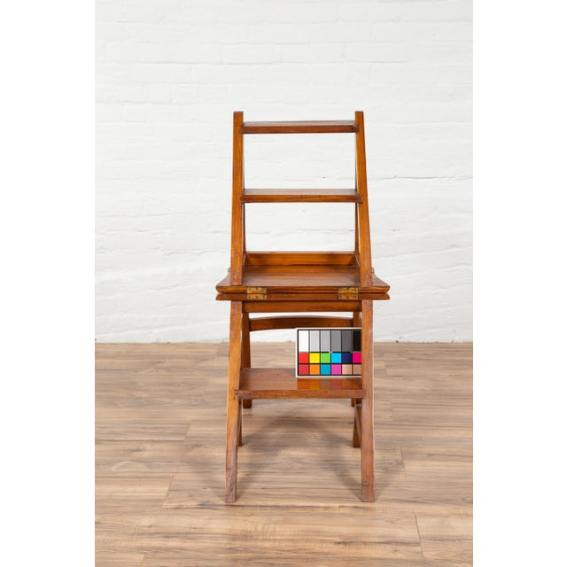 Wood Vintage Dutch Colonial Metamorphic Teak Step Ladder Folding Side Chair For Sale - Image 7 of 13