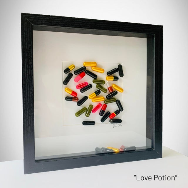 """""""My Pills"""" collection created by Rinat Lavi and incorporates colorful capsules to create a collage. These pieces are a..."""