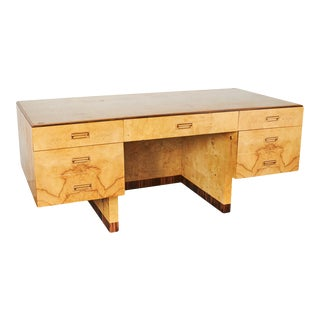 Henredon Burl Wood Executive Desk For Sale