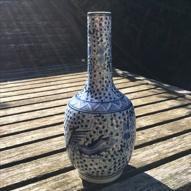 Vintage Blue and White Chinoiserie Vase - Image 2 of 6