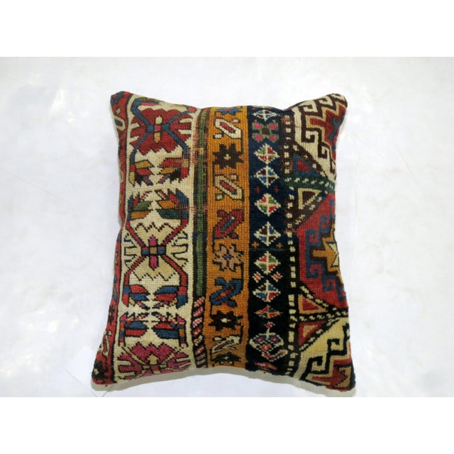 English Traditional Antique Caucasian Rug Pillow For Sale - Image 3 of 3