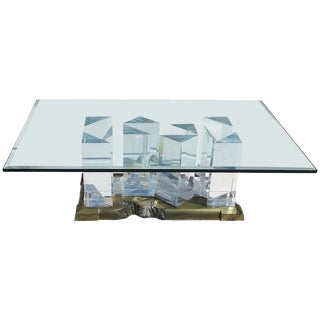 "Jeffry Bigelow Signed ""Towers"" Lucite and Brass Coffee Table, 1989"
