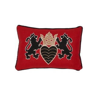 Contemporary Schumacher Lionheart Applique Lumbar Pillow in Red Black Gold For Sale