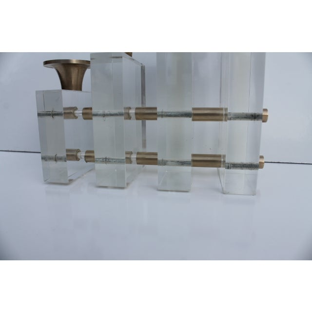 Karl Springer Style Lucite and Brass Candleholder For Sale - Image 5 of 9