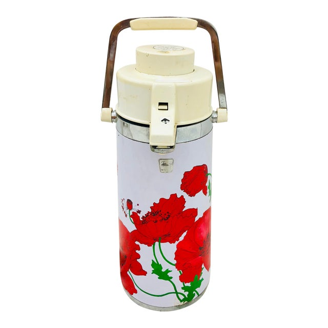 Vintage Red & White Floral Thermos Carafe For Sale