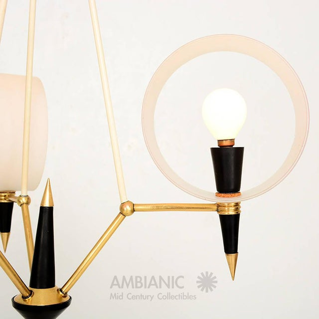 Metal Mid-Century Modern Italian Chandelier With Three Arms For Sale - Image 7 of 10