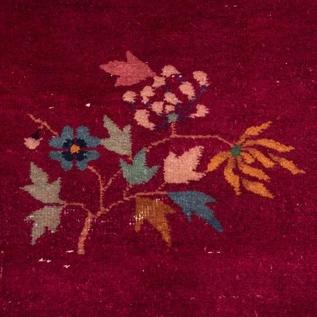 Red Magenta Chinese Deco Carpet For Sale - Image 8 of 11