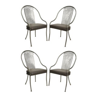 Vintage Shaver Howard Mid Century Modern Brushed Steel Metal Design Dining Chairs - Set of 4 For Sale