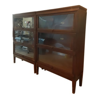 Pair Antique Lundstrom Sectional Bookcase Honduras Mahogany Barrister Bookcases - a Pair For Sale