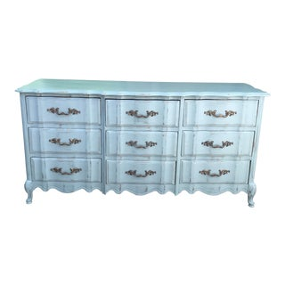 1970s French Provincial Bassett Furniture Sky Blue Chest of Drawers