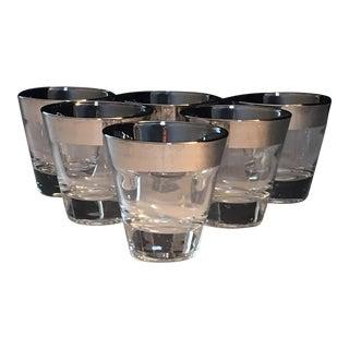 Mid-Century Silver Trim Shot Glasses - Set of 6