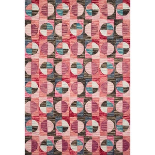 "Justina Blakeney X Loloi Rugs Hallu Rug, Berry / Charcoal - 3'6""x5'6"" For Sale"