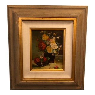 1980s Still Life with Flowers Oil on Canvas Case Framed Painting For Sale