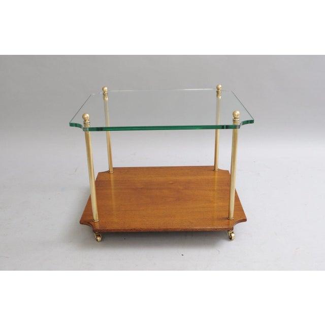 Mid Century Modern Walnut Brass Glass Table - Image 4 of 11