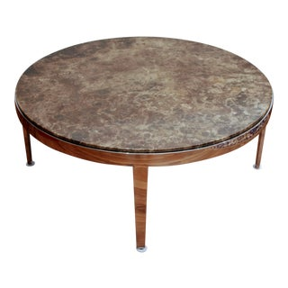 Round Marble Coffee Table on Chrome Base For Sale