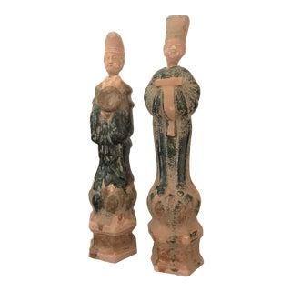 Antique Asian Figurine Vessels - a Pair For Sale