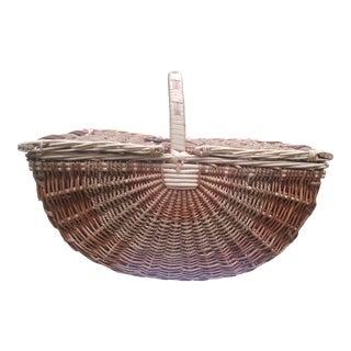 1980s Wicker Demi-lune Cottage Picnic Basket For Sale