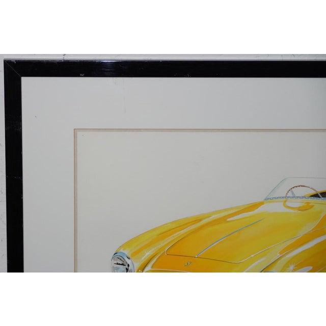 Illustration Classic Yellow Ferrari Original Watercolor by Stan Petersen C.1993 For Sale - Image 3 of 10