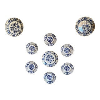 Nine Blue Onion Meissen Show or Wall Plates For Sale