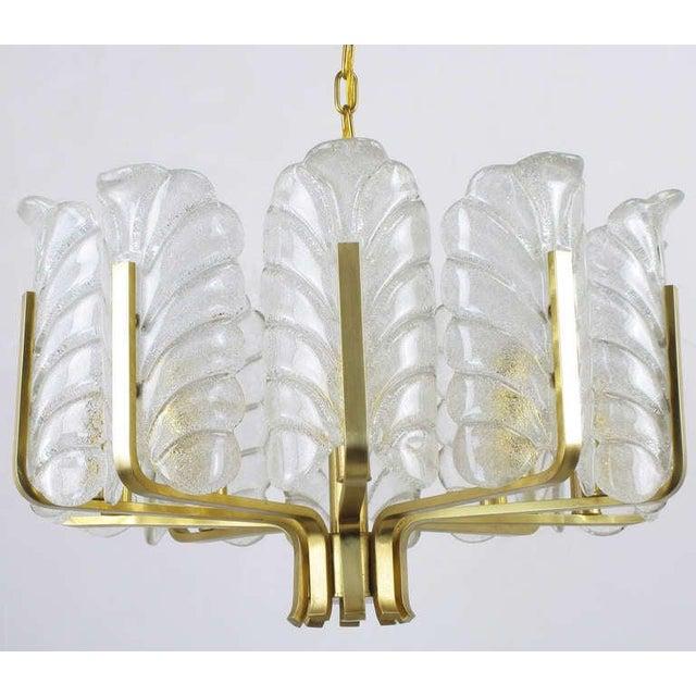 1960s Murano Glass Acanthus Leaf and Brass Ten-Arm Chandelier For Sale - Image 5 of 10