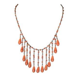 1920s Deco Era Coral Celluloid Drop Bib Necklace For Sale