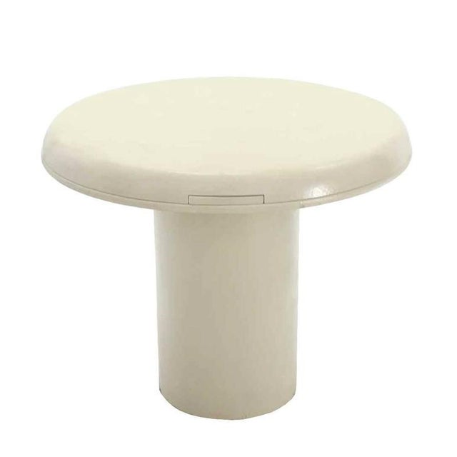Fabric Vintage Mid Century Cloth Finished Round Pedestal Base Game or Dinette Table For Sale - Image 7 of 8