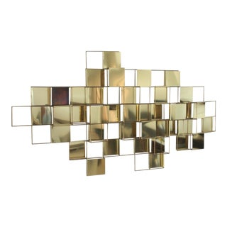 Large Mid-Century Brass Geometric Wall Art Sculpture For Sale