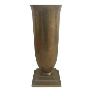 Vintage Art Deco Style Fluted Brass Vase For Sale