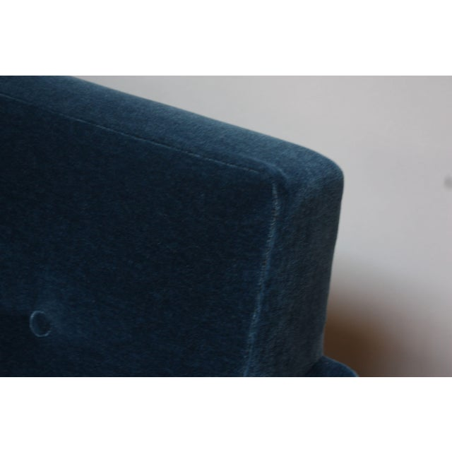 Milo Baughman for Thayer Coggin Walnut Sofa in Blue Mohair For Sale - Image 10 of 13